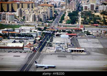 Aerial view of Gibraltar airport and Frontier customs crossing with Spain at the top of picture - Image courtesy of Travel Shots