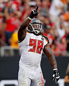 Sept. 14, 2014 - Tampa, Florida, U.S. - DIRK SHADD | Times .Tampa Bay Bucs DT Clinton McDonald (50) celebrates while on the field against the St. Louis Rams at Raymond James stadium in Tampa on Sunday (09/14/14) (Credit Image: © Dirk Shadd/Tampa Bay Times/ZUMA Wire) -Stock Image- E7GYHN