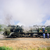 "Historic steam locomotive ""Pacific PLM 231 K 8"" of ""Paimpol-Pontrieux"" train Brittany France -Stock Image- D5RAH4"