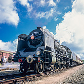 "Historic steam locomotive ""Pacific PLM 231 K 8"" of ""Paimpol-Pontrieux"" train Brittany France -Stock Image- D5RAK4"