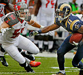 Sept. 14, 2014 - Tampa, Florida, U.S. - JIM DAMASKE | Times.Bucs Dane Fletcher (50) lines up on Rams Tavon Austin (11) during the Tampa Bay Buccaneers game against the Rams at Raymond James Stadium on Sunday afternoon 9/14/14. (Credit Image: © Jim Damaske/Tampa Bay Times/ZUMA Wire) -Stock Image- E7H1HR