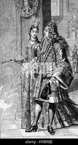 Costume at court in the second half of the 17th century, France, historical illustration
