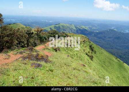 Nature Scenery of kudajadri hills in the Western Ghats in South India (Karnataka State).Scenic Mountain peaks of Kudajadri Hills