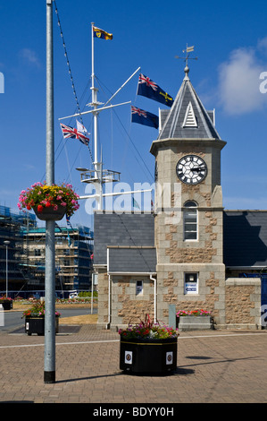 dh  ST PETER PORT GUERNSEY Weighbridge clock tower building and mast on roundabout