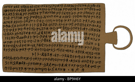 This illustration shows the lettering on a bronze tablet uncovered at Idalion, an ancient city in Cyprus.