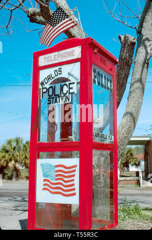Florida, FL, South, Gulf Coast Carabelle world's smallest police station private phone in former phone booth, sightseeing visitors travel traveling to