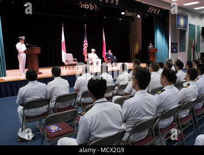180301-N-XP344-049 MANAMA, Bahrain (March 1, 2018) Rear Adm. Daisuke Kajimoto, of the Japan Maritime Self Defence Force, speaks during Combined Task Force (CTF) 151'a change of command ceremony in the multipurpose room aboard Naval Support Activity. CTF 151's area of operation includes some of the world's busiest shipping lanes and spans over two million square miles, covering the Red Sea, Gulf of Aden, Indian Ocean and Gulf of Oman. (U.S. Navy photo by Mass Communication Specialist 2nd Class Victoria Kinney/Released)