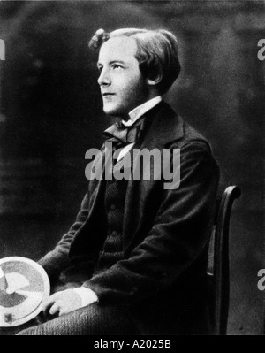 portrait of James Clerk Maxwell as a young man holding his colour color wheel