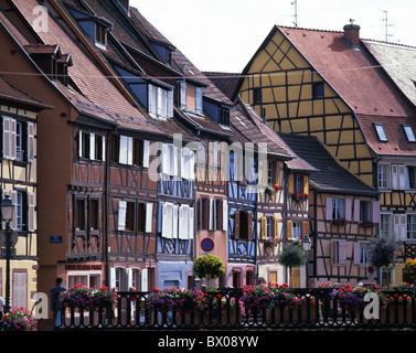 Colmar Alsace half-timbered houses France Europe terrace