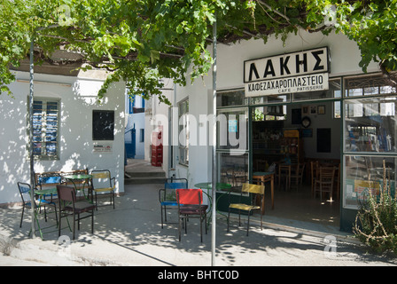 Traditional Greek Zaharoplastio - patisserie or bakery sweet shop - in Apollonia on the island of Sifnos, Greece