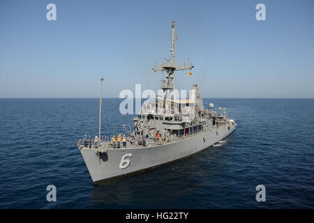 141106-N-SI773-059 GULF OF OMAN (Nov. 6, 2014) The mine countermeasures ship USS Devastator (MCM 6) prepares to re-supply during the International Mine Countermeasures Exercise (IMCMEX). With a quarter of the world's navies participating including 6,500 Sailors from every region, IMCMEX is the largest international naval exercise promoting maritime security and the free-flow of trade through mine countermeasure operations, maritime security operations, and maritime infrastructure protection in the U.S. 5th Fleet area of responsibility and throughout the world. (U.S. Navy photo by Mass Communi