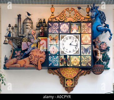 Ornamental clock in Wellgate retail shopping centre in  Dundee, Scotland uk