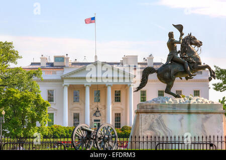 The White House Washington DC. Equestrian statue of Andrew Jackson in Lafayette Square and the North Portico