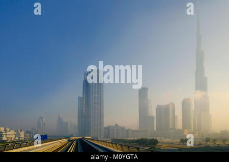 Skyline of central Dubai showing the Burj Khalifa - the world's tallest building