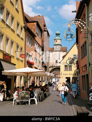 Old Town Germany Europe half-timbered houses lives people Marcus tower Rothenburg street cafe