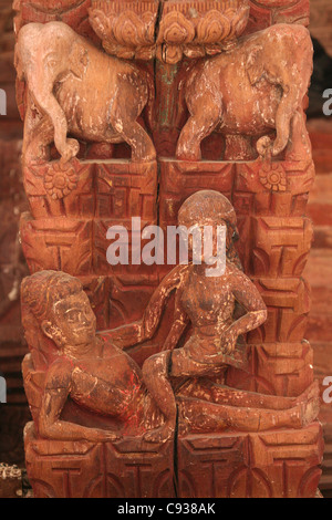 Kama Sutra sex position depicted at the Jagannath Mandir Temple at Durbar Square in Kathmandu, Nepal.