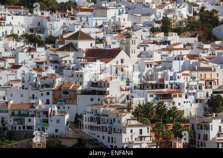 Frigiliana, Malaga Province, Axarquia, Andalusia, southern Spain. Typical white washed mountain town.