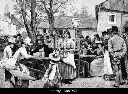 """gastronomy, inns, ""Beim Heurigen"", wood engraving after drawing by Wilhelm Gause, Vienna, 1891, Heuriger, wine, inn, tavern,"