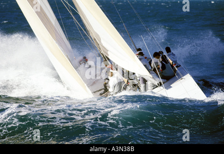 12m yacht White Crusader crashing into big waves and seas