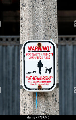 Dog Waste Attracts and Feeds Rats sign in Chicago, encouraging owners to clear up after their dogs.