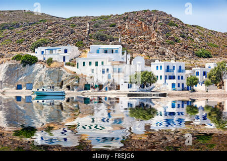 White houses in the port of Psathi in Kimolos, Greece