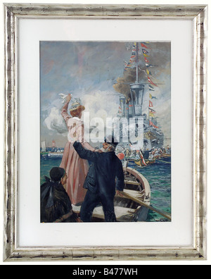"Hans Bohrdt (1857 - 1945)., ""Heimkehr"" (Return Home) of the S.M.S Brandenburg 1901. Gouache on paper mounted on pasteboard. S"