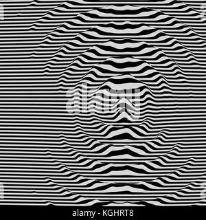 Waveform background. Dynamic visual effect. Surface distortion. Pattern with optical illusion. Vector striped illustration. Black and white sound wave