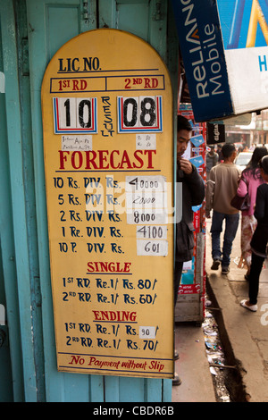 India, Meghalaya, Shillong, Teer, legalized gambling, board showing tir archery result outside betting booth