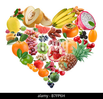 The fruits in a form of heart are in a white background