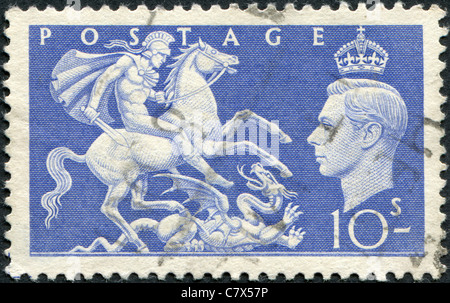 UNITED KINGDOM - 1951: A stamp printed in England, shows St. George Slaying the Dragon
