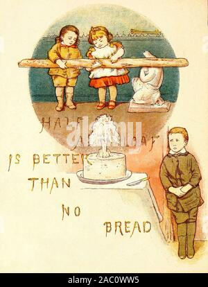 Half a loaf is better than no bread - A vintage illustration of an old proverb