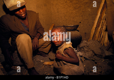 Impunyu forest Batwa pygmy child who has been relocated into poor quality housing by the Rwandan Government