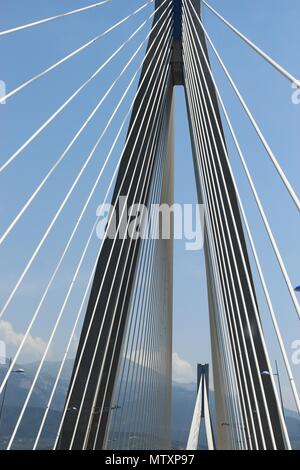 Under the world's third longest cable-stayed deck Charilaos Trikoupis Bridge in the Greece