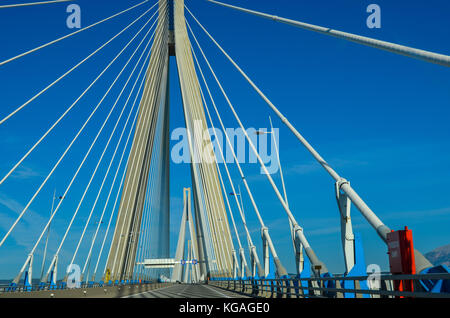 view of Rio Antirio bridge, one of the the world's longest cable bridges.It crosses the Gulf of Corinth and links the town of Rio with antirio.