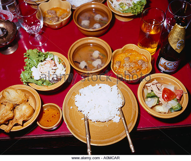 Thai food Thailand classical dance Dinner show Bangkok Thailand Stock Photo