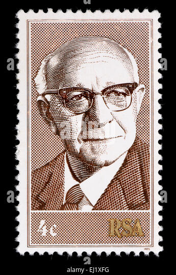 South African 4c postage stamp of 1975 showing Nicolaas Diederichs (3rd State President of South Africa, 1975–1978) Stock Photo