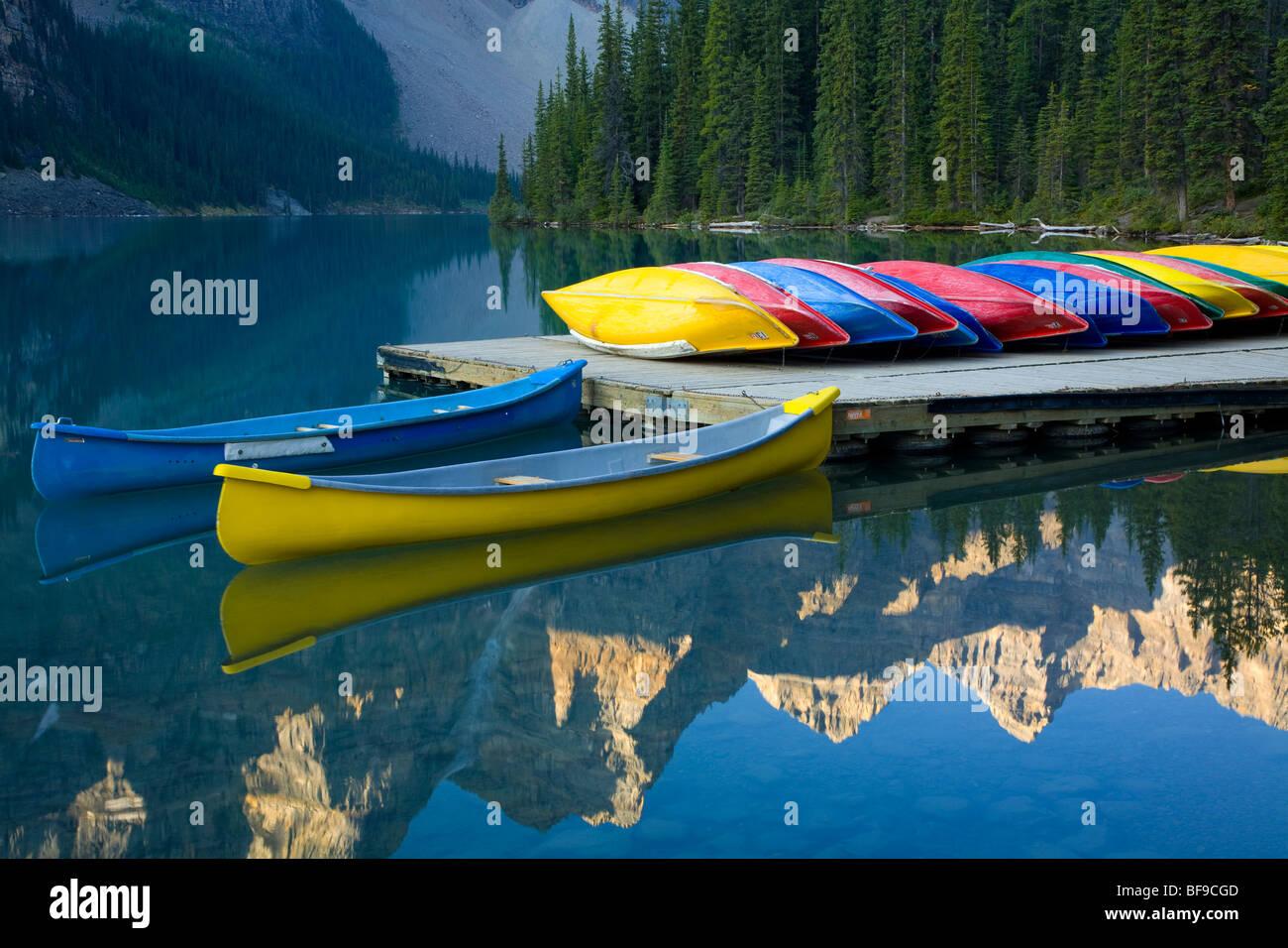 Canoes Moored on Moraine Lake, Banff National Park, UNESCO