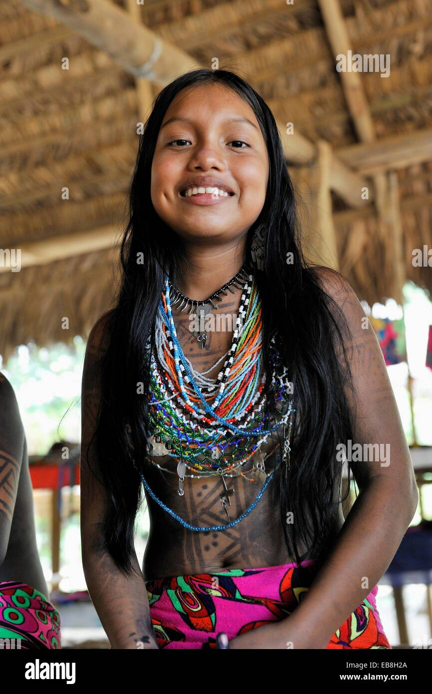 Esilda by the river, young teenager of Embera native