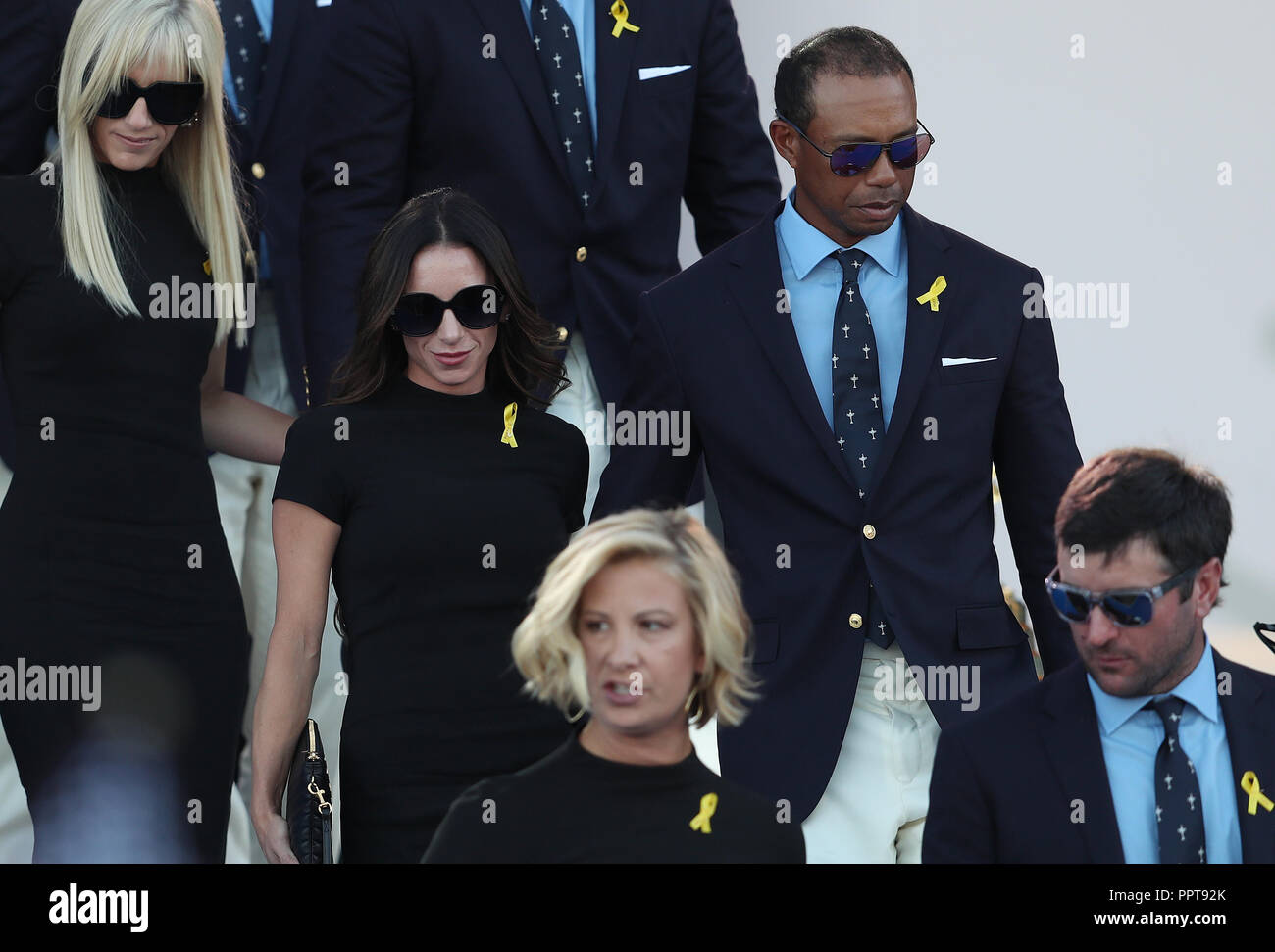 Tiger Woods and girlfriend Erica Herman during the Ryder ...