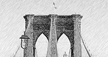 Brooklyn Bridge as a Charcoal or drawing, digitally rendered - Stock Photo