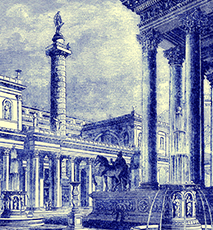 The forum and column of Trajan Illustration from Cassell s Illustrated Universal History by Edward Ollier 1890 - Stock Photo