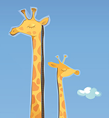 An illustration of a mother and child giraffe - Stock Photo
