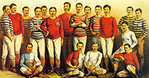 ENGLISH FOOTBALLERS OF 1881 as shown in the Boys Own Magazine - Stock Photo