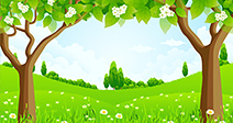 Green Background with Trees Flowers and Hills - Stock Photo