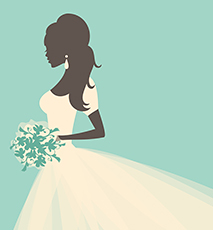 Illustration of a beautiful bride holding flowers. - Stock Photo
