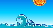 Waves, sun and sky vector illustration - Stock Image
