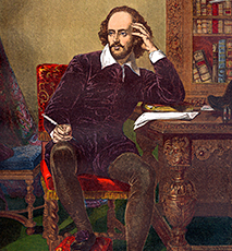 Colour portrait of William Shakespeare (1564-1616) (English playright) circa 19th Century - Stock Photo