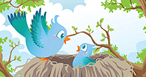 A vector illustration of birds in the nest - Stock Photo