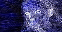 Woman digital wireframe face conceptual 3D illustration on dark blue background - Stock Photo