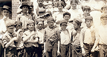 Group of child workers in Moritas Mill; Columbus; Georgia. - Stock Photo